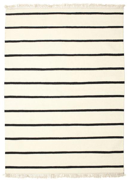 Dorri Stripe - Weiß/Schwarz Teppich  140X200 Echter Moderner Handgewebter Beige/Weiß/Creme (Wolle, Indien)