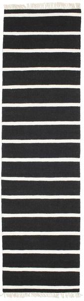 Dorri Stripe - Schwarz/Weiß Teppich  80X300 Echter Moderner Handgewebter Läufer Schwartz/Weiß/Creme (Wolle, Indien)