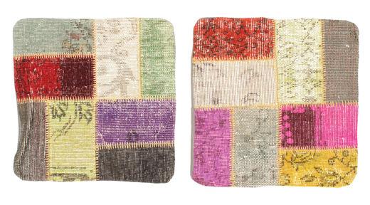 Patchwork Kissenhülle Teppich  50X50 Echter Orientalischer Handgeknüpfter Quadratisch Gelb/Dunkel Beige (Wolle, Türkei)