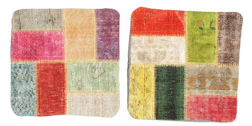 Patchwork Kissenhülle Teppich  50X50 Echter Orientalischer Handgeknüpfter Quadratisch Dunkel Beige/Gelb (Wolle, Türkei)
