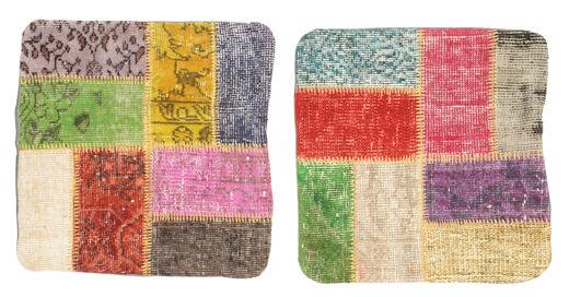 Patchwork Kissenhülle Teppich  50X50 Echter Orientalischer Handgeknüpfter Quadratisch Gelb/Beige (Wolle, Türkei)