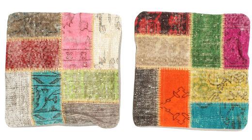 Patchwork Kissenhülle Teppich  50X50 Echter Orientalischer Handgeknüpfter Quadratisch Dunkelgrün/Dunkel Beige (Wolle, Türkei)
