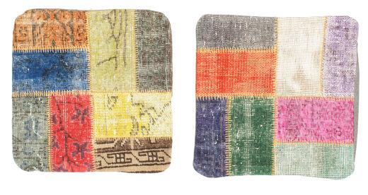 Patchwork Kissenhülle Teppich  50X50 Echter Orientalischer Handgeknüpfter Quadratisch Blau/Rot (Wolle, Türkei)