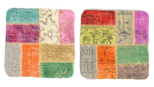 Patchwork Kissenhülle Teppich  50X50 Echter Orientalischer Handgeknüpfter Quadratisch Hell Grün/Hellgrau (Wolle, Türkei)