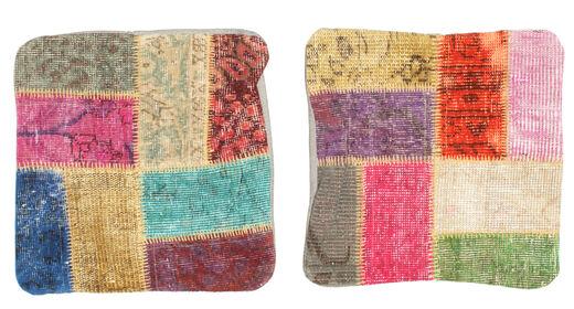 Patchwork Kissenhülle Teppich  50X50 Echter Orientalischer Handgeknüpfter Quadratisch Braun/Helllila (Wolle, Türkei)