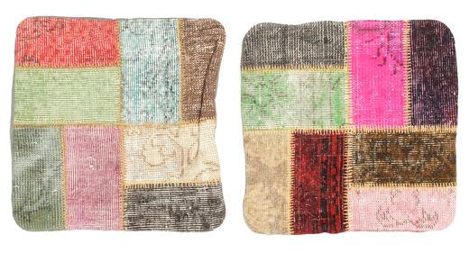 Patchwork Kissenhülle Teppich  50X50 Echter Orientalischer Handgeknüpfter Quadratisch Hellbraun/Beige (Wolle, Türkei)