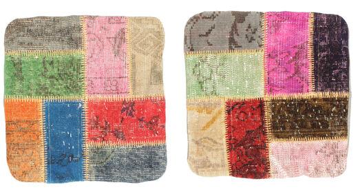 Patchwork Kissenhülle Teppich  50X50 Echter Orientalischer Handgeknüpfter Quadratisch Hellrosa/Hellbraun (Wolle, Türkei)