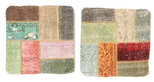 Patchwork Kissenhülle Teppich  50X50 Echter Orientalischer Handgeknüpfter Quadratisch Hellbraun/Dunkel Beige (Wolle, Türkei)