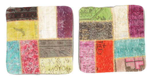 Patchwork Kissenhülle Teppich  50X50 Echter Orientalischer Handgeknüpfter Quadratisch Gelb/Hellrosa (Wolle, Türkei)