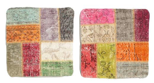 Patchwork Kissenhülle Teppich  50X50 Echter Orientalischer Handgeknüpfter Quadratisch Hellgrau/Beige (Wolle, Türkei)