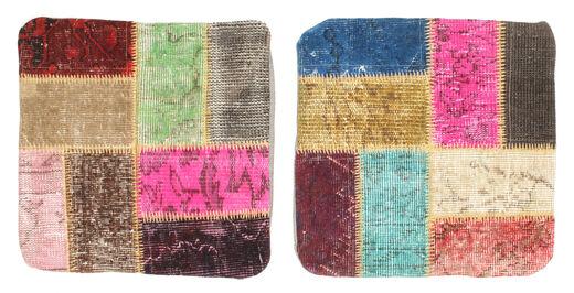 Patchwork Kissenhülle Teppich  50X50 Echter Orientalischer Handgeknüpfter Quadratisch Dunkelrot/Dunkel Beige (Wolle, Türkei)