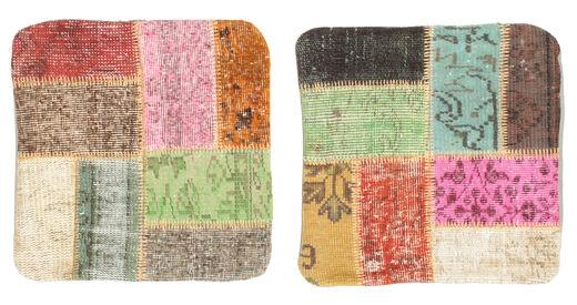 Patchwork Kissenhülle Teppich  50X50 Echter Orientalischer Handgeknüpfter Quadratisch Rot/Beige (Wolle, Türkei)