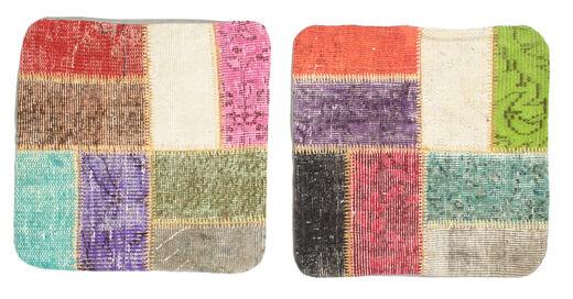 Patchwork Kissenhülle Teppich  50X50 Echter Orientalischer Handgeknüpfter Quadratisch Gelb/Hellgrau (Wolle, Türkei)