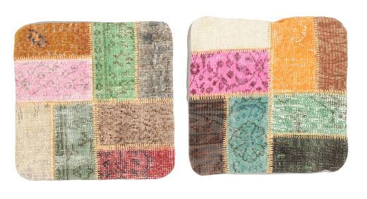 Patchwork Kissenhülle Teppich  50X50 Echter Orientalischer Handgeknüpfter Quadratisch Lindgrün/Dunkelgrau (Wolle, Türkei)
