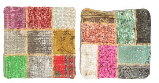 Patchwork Kissenhülle Teppich  50X50 Echter Orientalischer Handgeknüpfter Quadratisch Hell Grün/Dunkel Beige (Wolle, Türkei)