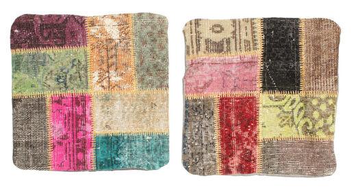 Patchwork Kissenhülle Teppich  50X50 Echter Orientalischer Handgeknüpfter Quadratisch Dunkelbraun/Dunkelrot (Wolle, Türkei)