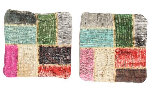 Patchwork Kissenhülle Teppich  50X50 Echter Orientalischer Handgeknüpfter Quadratisch Olivgrün/Beige (Wolle, Türkei)