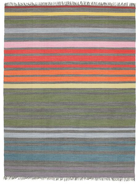 Rainbow Stripe - Grau Teppich  200X250 Echter Moderner Handgewebter Hellgrau/Olivgrün (Baumwolle, Indien)