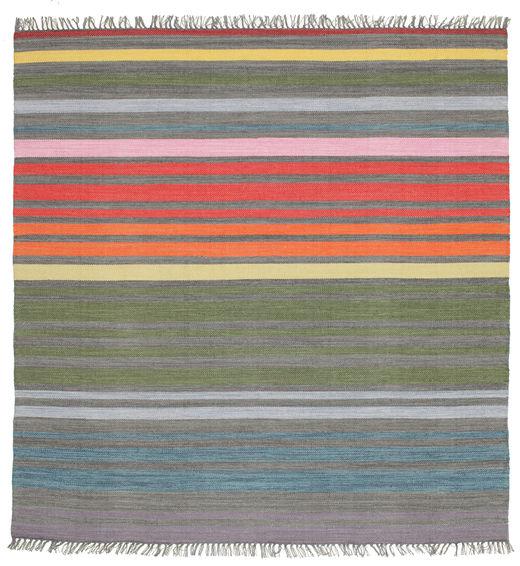 Rainbow Stripe - Grau Teppich  200X200 Echter Moderner Handgewebter Quadratisch Dunkelgrau/Hellgrau (Baumwolle, Indien)