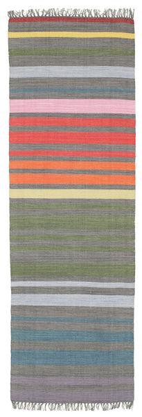 Rainbow Stripe - Grau Teppich  80X250 Echter Moderner Handgewebter Läufer Dunkelgrau/Hellgrau (Baumwolle, Indien)