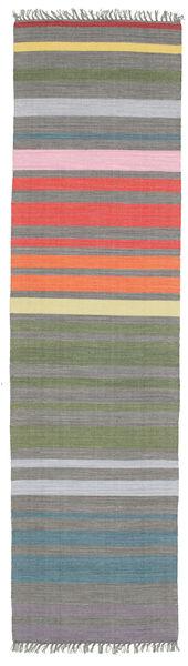 Rainbow Stripe - Grau Teppich  80X300 Echter Moderner Handgewebter Läufer Dunkelgrau/Hellgrau (Baumwolle, Indien)