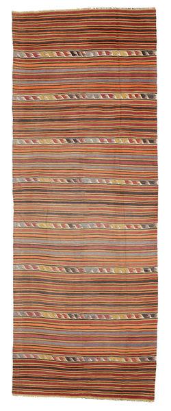 Kelim Halbantik Türkei Teppich  147X396 Echter Orientalischer Handgewebter Läufer Dunkelrot/Hellbraun (Wolle, Türkei)