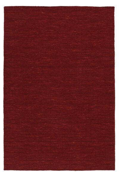 Kelim Loom - Dunkelrot Teppich  200X300 Echter Moderner Handgewebter Rot (Wolle, Indien)