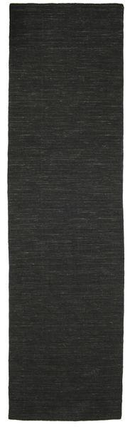 Kelim Loom - Schwarz Teppich  80X300 Echter Moderner Handgewebter Läufer Schwartz (Wolle, Indien)