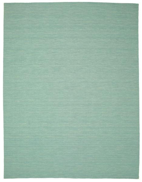 Kelim Loom - Mint Grün Teppich  300X400 Echter Moderner Handgewebter Lindgrün/Türkisblau Großer (Wolle, Indien)