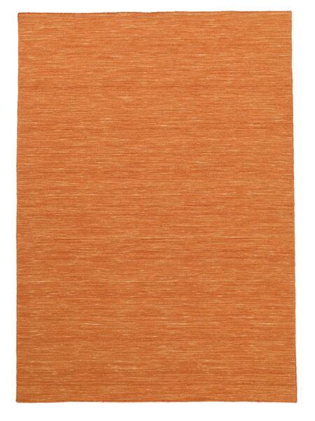 Kelim Loom - Orange Teppich  160X230 Echter Moderner Handgewebter Orange (Wolle, Indien)