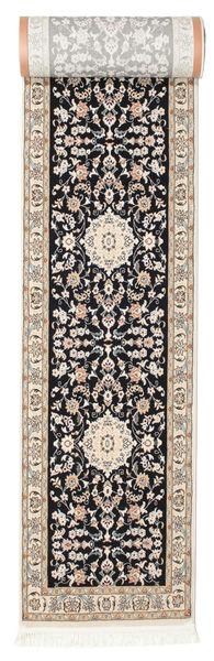Nain Negin Teppich  80X500 Orientalischer Läufer Hellgrau/Schwartz ( Türkei)