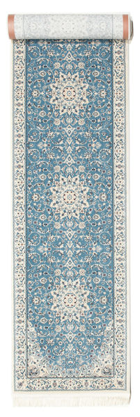 Nain Emilia - Hellblau Teppich  80X400 Orientalischer Läufer Hellgrau/Hellblau ( Türkei)