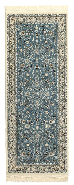 Nain Florentine - Hellblau Teppich  80X200 Orientalischer Läufer Dunkelgrau/Hellgrau ( Türkei)