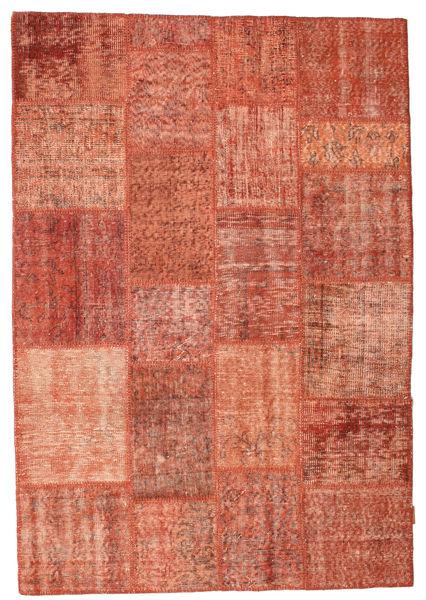 Patchwork Teppich  139X203 Echter Moderner Handgeknüpfter Rot/Hellrosa/Dunkelrot (Wolle, Türkei)