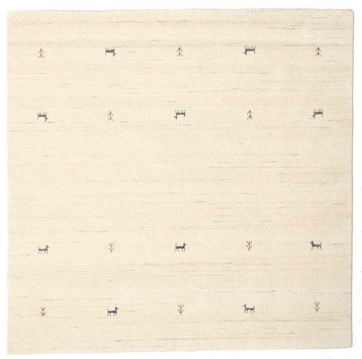 Gabbeh Loom Two Lines - Naturweiß Teppich  200X200 Moderner Quadratisch Beige/Weiß/Creme/Gelb (Wolle, Indien)