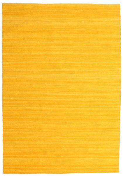 Kelim Loom - Gelb Teppich  160X230 Echter Moderner Handgewebter Orange (Wolle, Indien)
