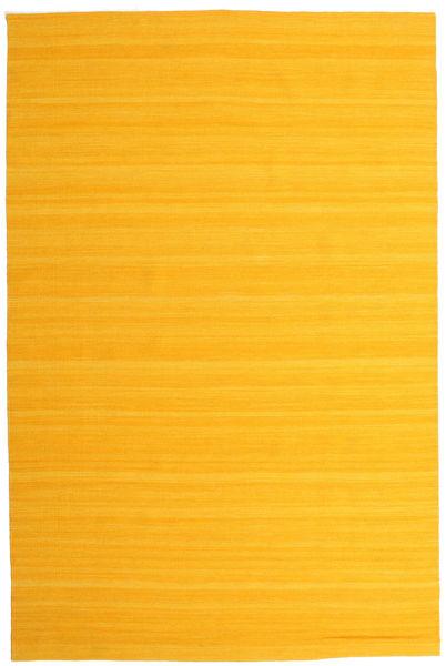 Kelim Loom - Gelb Teppich  200X300 Echter Moderner Handgewebter Orange/Gelb (Wolle, Indien)