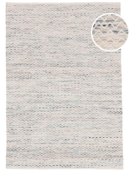 Chevron Waves - Hell Teppich  160X230 Echter Moderner Handgewebter Beige/Hellgrau ( Indien)