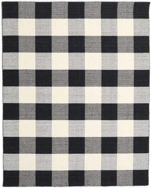 Check Kilim - Schwarz/Weiß Teppich  240X300 Echter Moderner Handgewebter Hellgrau/Schwartz (Wolle, Indien)