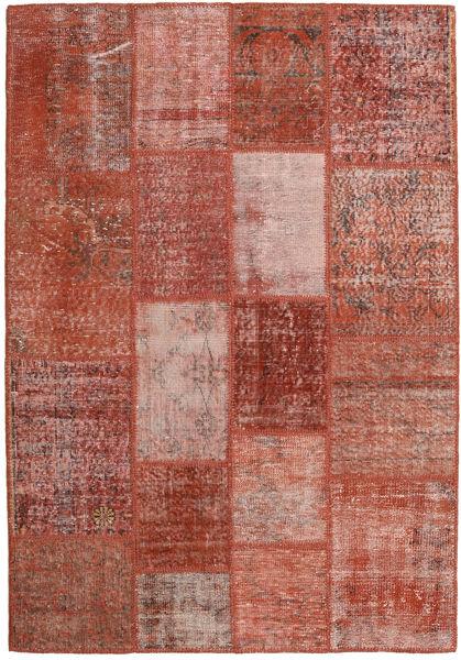 Patchwork Teppich  139X202 Echter Moderner Handgeknüpfter Dunkelrot/Rot (Wolle, Türkei)