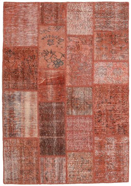 Patchwork Teppich  138X200 Echter Moderner Handgeknüpfter Dunkelrot/Rot (Wolle, Türkei)