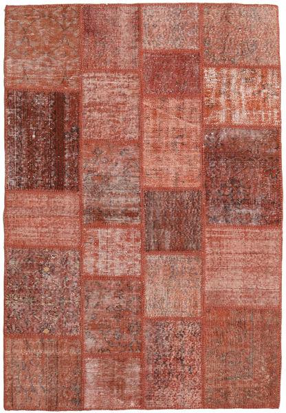 Patchwork Teppich  138X203 Echter Moderner Handgeknüpfter Dunkelrot/Rot (Wolle, Türkei)