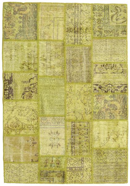 Patchwork Teppich  141X201 Echter Moderner Handgeknüpfter Olivgrün/Gelb (Wolle, Türkei)