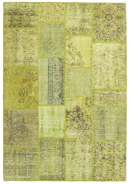 Patchwork Teppich  138X202 Echter Moderner Handgeknüpfter Hell Grün/Olivgrün (Wolle, Türkei)