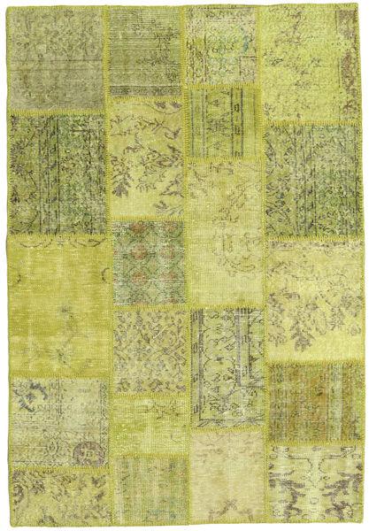 Patchwork Teppich  138X203 Echter Moderner Handgeknüpfter Gelb/Hell Grün/Olivgrün (Wolle, Türkei)