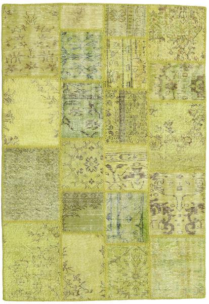 Patchwork Teppich  138X202 Echter Moderner Handgeknüpfter Gelb/Hell Grün/Olivgrün (Wolle, Türkei)