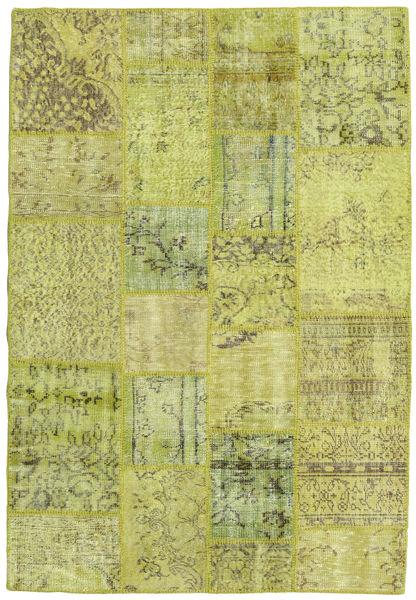 Patchwork Teppich  137X202 Echter Moderner Handgeknüpfter Hell Grün/Olivgrün (Wolle, Türkei)