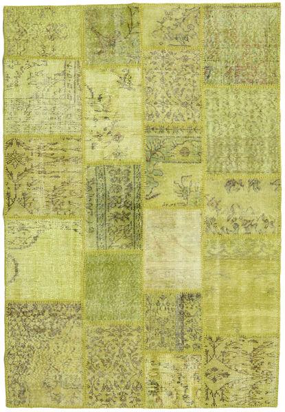 Patchwork Teppich  138X202 Echter Moderner Handgeknüpfter Gelb/Olivgrün (Wolle, Türkei)