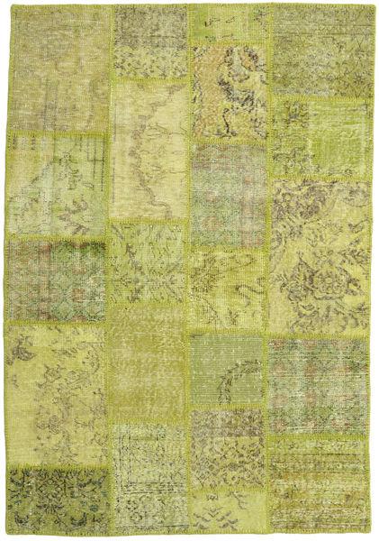 Patchwork Teppich  139X203 Echter Moderner Handgeknüpfter Olivgrün/Hell Grün/Gelb (Wolle, Türkei)