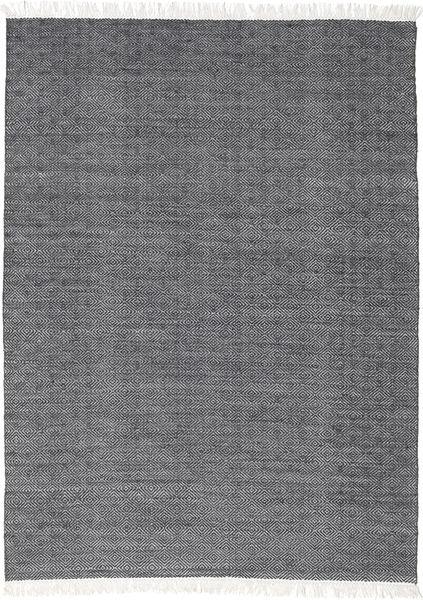 Diamond Wolle - Schwarz Teppich  160X230 Echter Moderner Handgewebter Dunkelgrau/Hellgrau (Wolle, Indien)